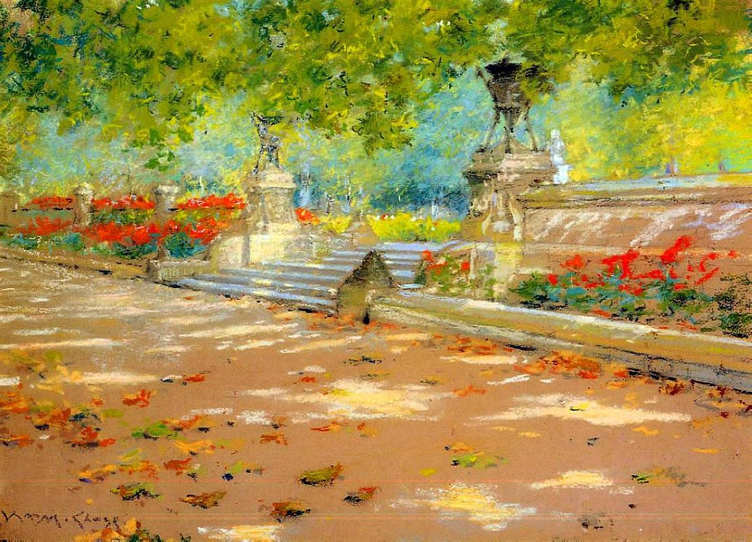 William Merritt Chase - Terrace, Prospect Park, 1886, impresionismo