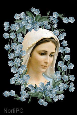 Fondo de pantalla cristiano para el celular: Bella pintura de la Virgen María