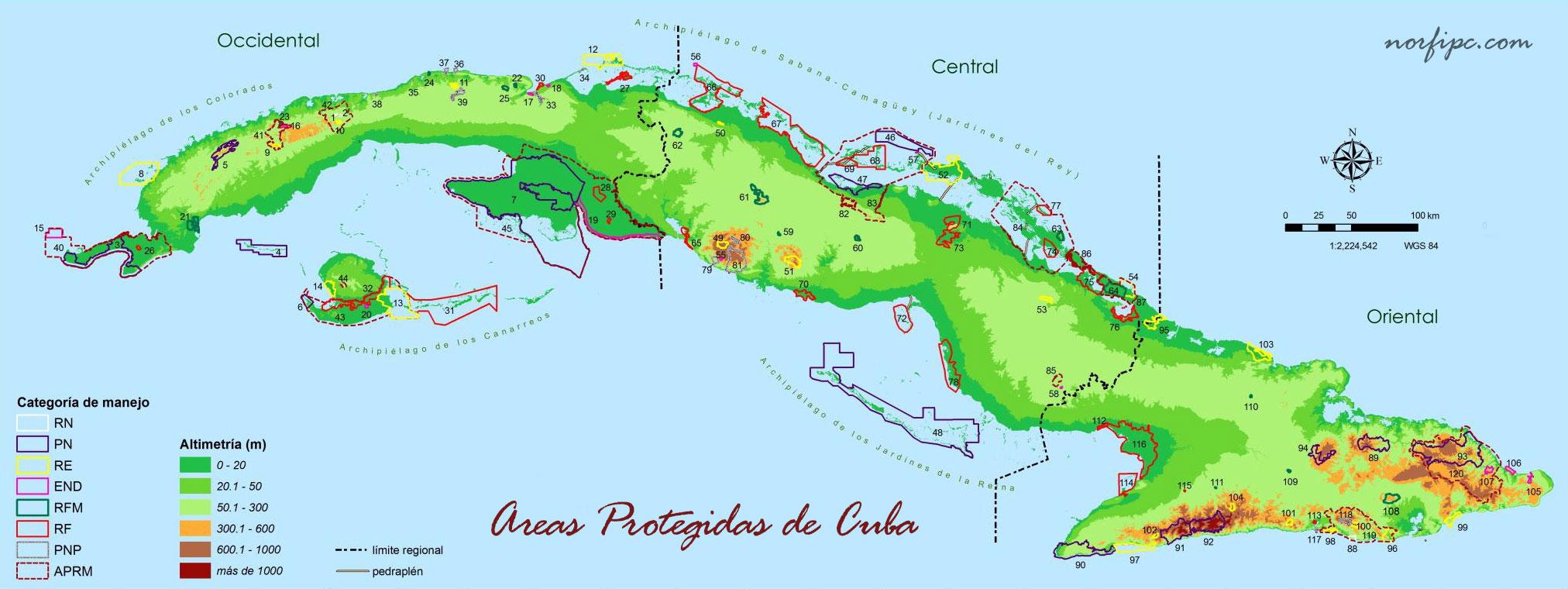 Lista de todas las Áreas Protegidas de Cuba con su ubicación