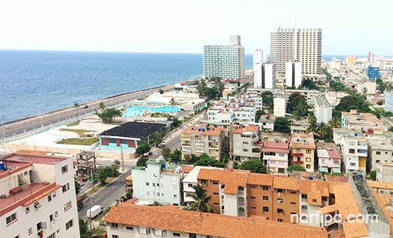 Litoral occidental del barrio del Vedado en la Habana