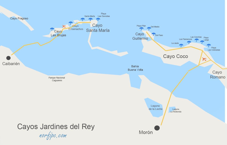 Cayos De Cuba Mapa.Cayos De Jardines Del Rey Playas Y Sitios De Interes