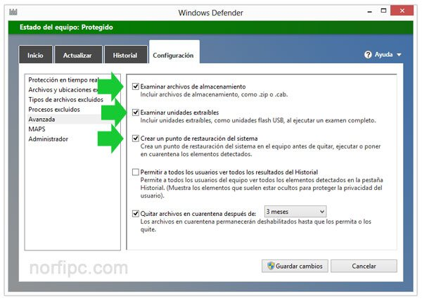 Configuraci�n recomendada de Windows Defender