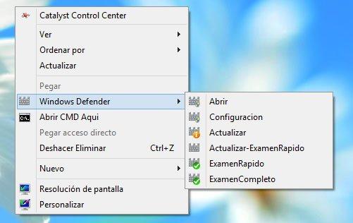 Tener las opciones de Windows Defender en el men� derecho del rat�n