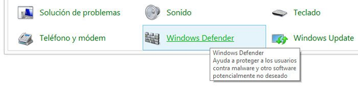 Abrir Windows Defender desde el Panel de control