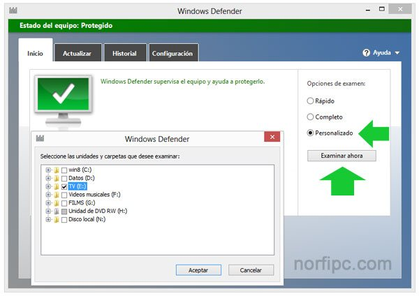 Revisar archivos y carpetas con Windows Defender