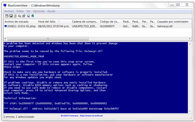 error e/s tarjeta de memoria