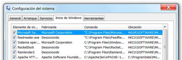 Configuración del sistema (MSCONFIG) en Windows