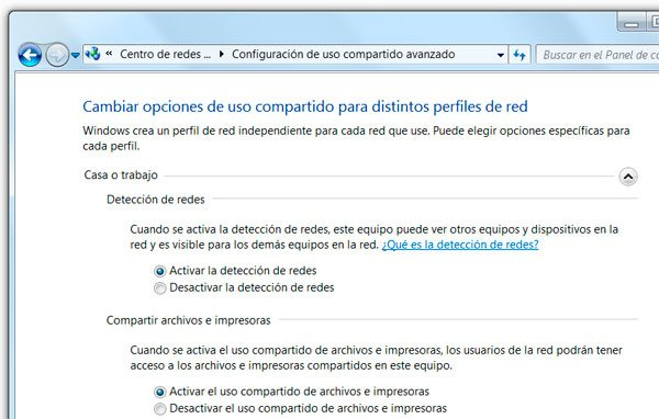 Configurar el uso compartido en una red local