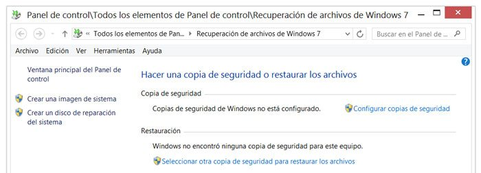 Crear una copia de seguridad o restaurar una existente en Windows 8