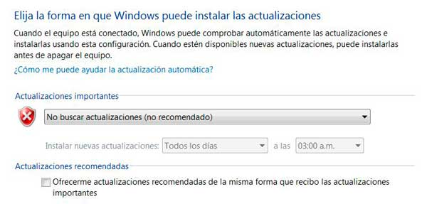 Deshabilitar Windows Update