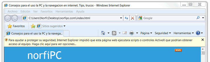 Deshabilitar en Internet Explorer advertencias y mensajes