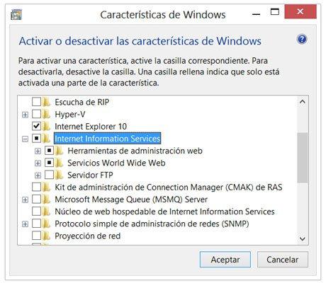 Instalar el servidor Internet Information Services