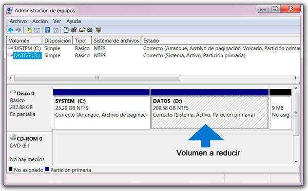 Administrador de discos de Windows