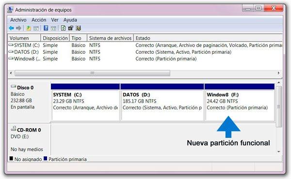 Nueva particion creada para instalar Windows 8