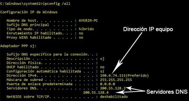comando modificadores red: