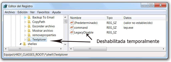Asignar valor LegacyDisable