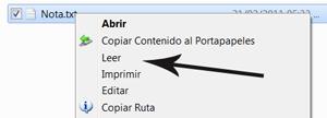 Agregar en el menú contextual la opción de leer archivos de texto