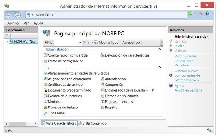 Panel de administración del servidor Internet Information Services