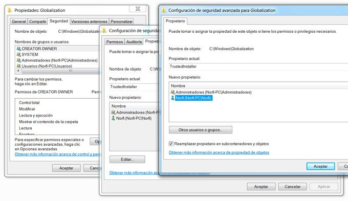 Obtener permisos del sistema en Windows