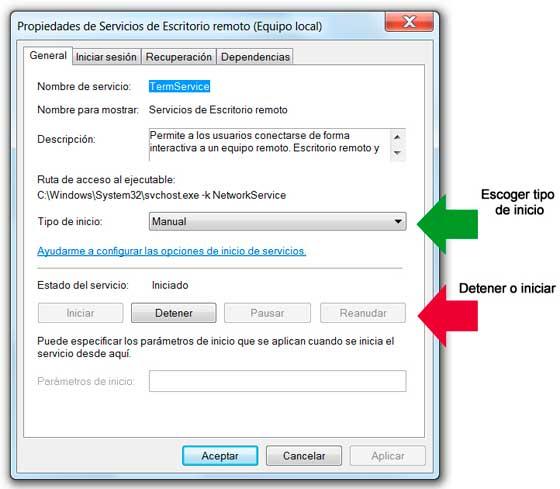 Configurar la forma de inicio de un servicio