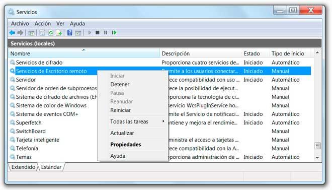 Herramienta para configurar los servicios en Windows 7