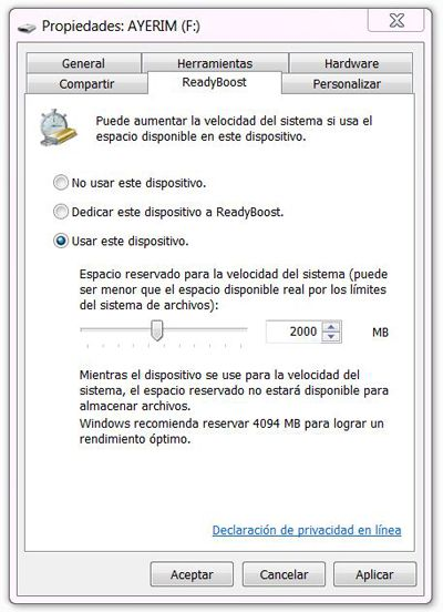 Usar ReadyBoost en Windows