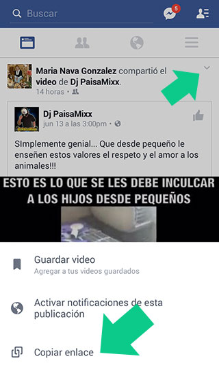 Copiar el enlace de un video en la aplicacion de Facebook