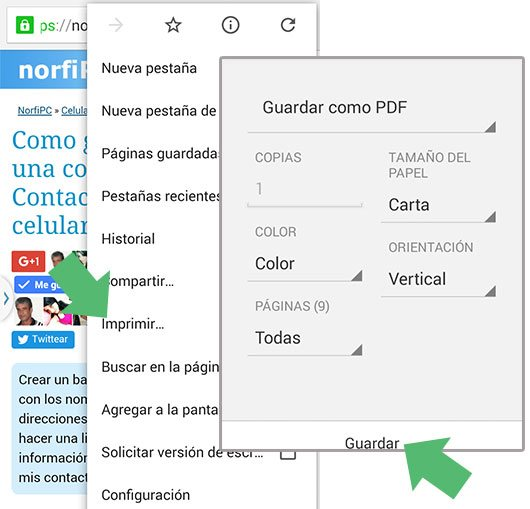 Guardar una página web como un PDF en Google Chrome