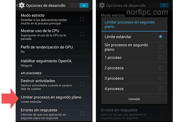 Impedir el consumo de datos en Android OS en segundo plano