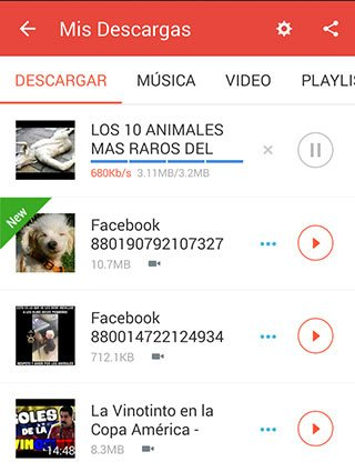 Panel de descarga de videos en la aplicacion SnapTube