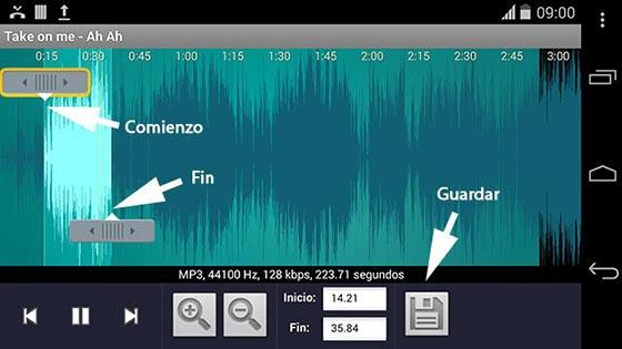 Recortar una canción con RingDroid para usar en el celular como tono de llamada