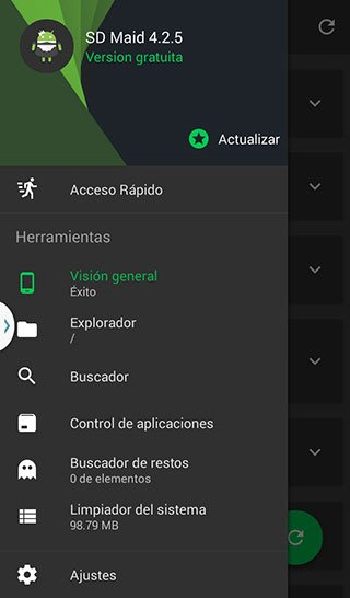 Panel de SD Maid aplicación para administrar y optimizar un dispositivo con Android