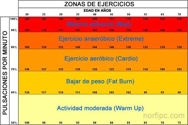 Zonas de ejercicios y las pulsaciones que corresponden a cada edad en cada una de ellas.