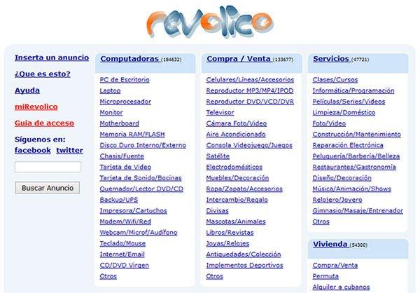Página principal de Revolico, sitio de anuncios clasificados en Cuba