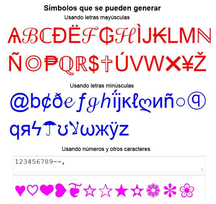 Convertir Texto Y Frases En Simbolos Caracteres Signos Para Facebook