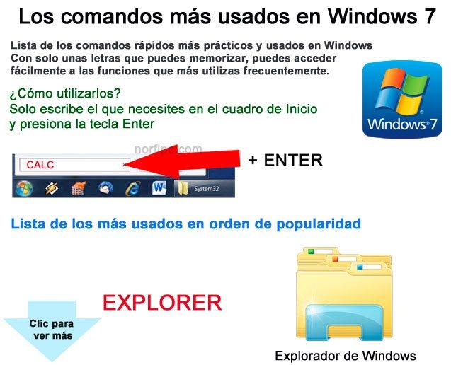 Los comandos rápidos más utilizados en Windows