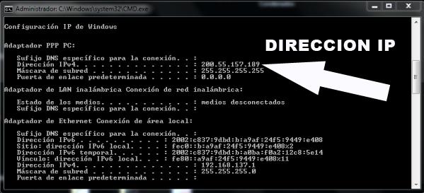 Imagen de la ventana de comandos de Windows al ejecutar ipconfg