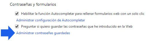 Abrir contrase�as en la configuraci�n de Google Chrome