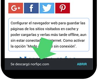 Notificacion de pagina guardada en Chrome
