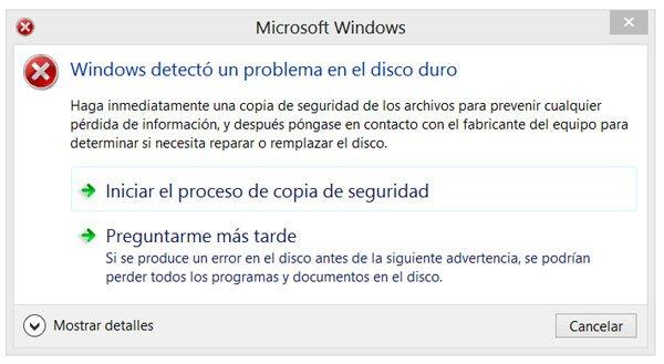 Alerta en Windows de un disco marcado con errores por SMART