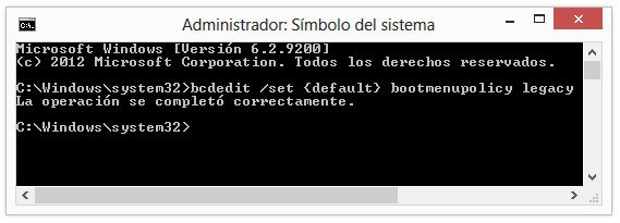 Habilitar en Windows 8 el sistema clásico de arranque con BCDEDIT
