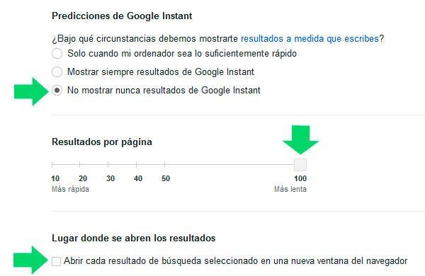 Configurar nuestras preferencias de búsquedas en Google