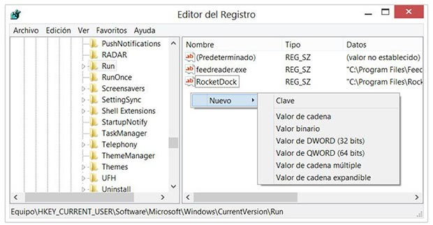 Crear un nuevo valor en el Registro de Windows