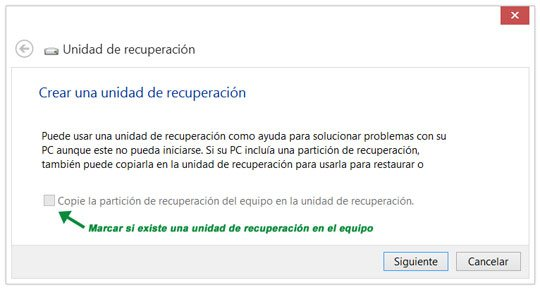 Crear una unidad de recuperaci�n en Windows