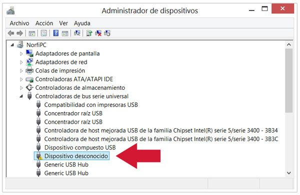 Dispositivo desconocido en el Administrador de dispositivos de Windows