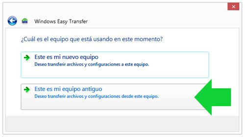 Escoger el equipo con Windows Easy Transfer