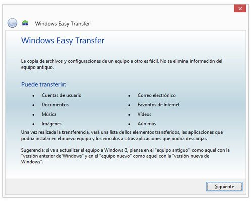 Iniciar Windows Easy Transfer para copiar datos o la configuracion de un equipo