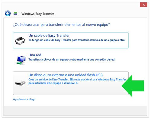 Escoger el método de transferir los datos con Windows Easy Transfer