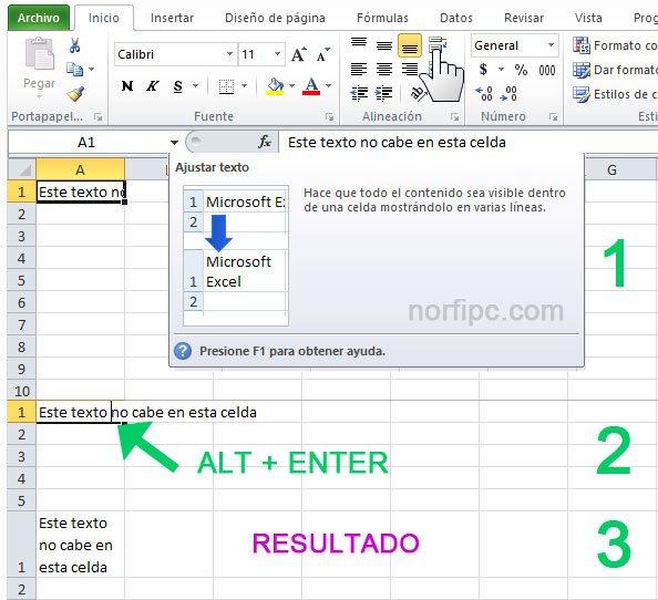 Dos opciones de ajustar el texto en una celda de Excel