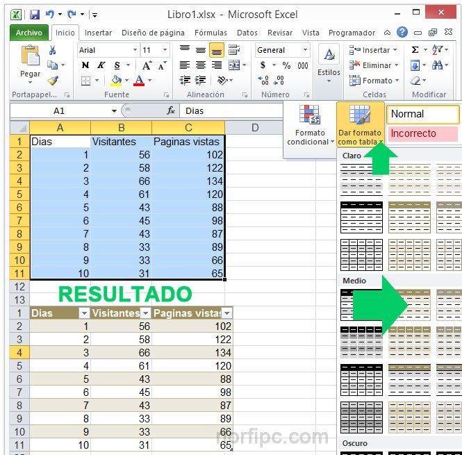Crear una tabla en Excel seleccionando un rango de celdas